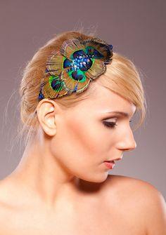 Peacock Eyes Feather Headpiece / Weddings / by HandmadeHatsbyElla, £55.00