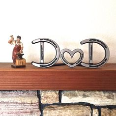 Personalized horseshoe heart couple sign, of 2 steel letters & heart. Country decor theme wedding gift. Choose standing or wall hanging. Add