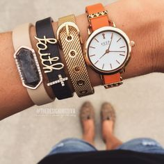 KEEP-Collective: orange band, round time key, pyramid bar, gold mesh, black band, faith script, pave cross, tan band, larvikite geo bar.