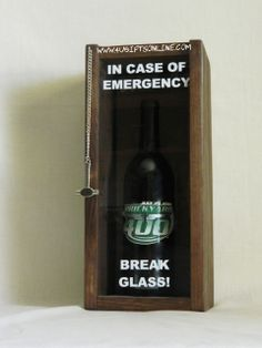 FUNNY GIFT - Break Glass In Case Of Emergency Novelty Wall Wine or Wiskey Bottle Holder. Comes horizontal or vertical, with slots to hold wine glasses or without. Great gift idea for Wedding, Birthday, Housewarming, Co-worker, Engagement, or just about anything. Boxes are handmade and can be customized to fit any item you wish. 4UGiftsOnline.com