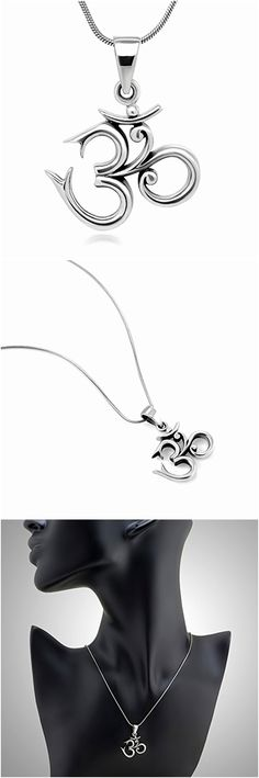 Necklaces and Pendants 98511: Yoga Charm Pendant Necklace - Sterling Silver 19 Mm Aum Om Ohm Sanskrit Symbol. -> BUY IT NOW ONLY: $53.9 on eBay!