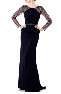 Terani Couture Embellished Crepe Peplum Gown available at #Nordstrom