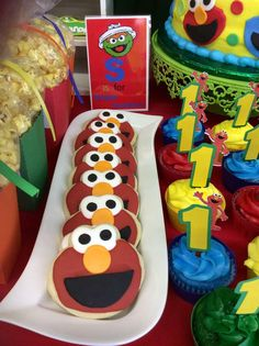 Elmo cookies at a Sesame Street Birthday Party!  See more party planning ideas at CatchMyParty.com!