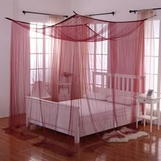 Transform your bed into a magical sanctuary with the Palace Four Poster Bed Canopy . This bed canopy can either be hung from the ceiling or mounted on. 4 Poster Bed Canopy, Four Poster Bed, 4 Post Bed, Bedroom Furniture, Bedroom Decor, Master Bedroom, Master Suite, Bedroom Ideas, Bedroom Colors