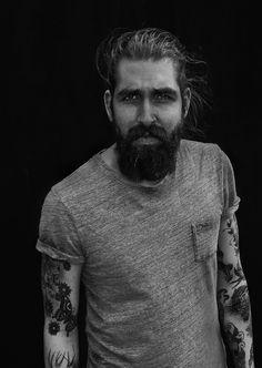 anthonybogdan: Anthony Bogdan - by Andy Bell Andy Bell, Hair And Beard Styles, Long Hair Styles, Sick Tattoo, Sexy Beard, Beard Lover, Dapper Gentleman, Beard No Mustache, Body Modifications