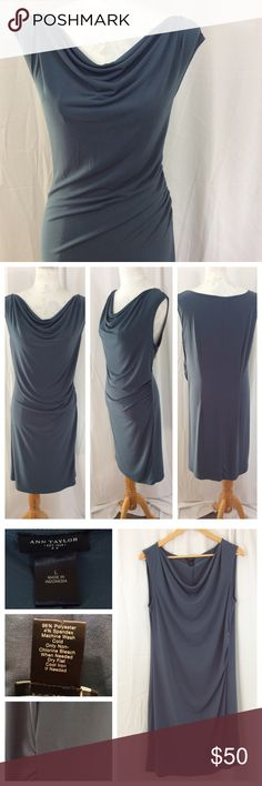 "Ann Taylor Drape Neck Dress Stunning dusty blue dress that drapes and lays perfectly across curves, accentuating hourglass figure. Fabric blend includes 4% spandex, making this pull-on design comfortable and easy to wear. Very small pull as indicated in bottom left pic, in otherwise great shape. Ann Taylor size L; 20"" chest, 17"" waist, 39"" total length. Ann Taylor Dresses"