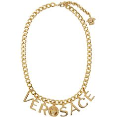 Versace Gold Letter Charm Necklace (1,535 AED) ❤ liked on Polyvore featuring jewelry, necklaces, charm necklace, yellow gold necklace, initial charms, gold necklaces and letter charm necklace
