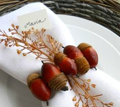 Make a lovely napkin holder with acorns, leaves or pine cones. While you are outside gathering them wear your Solar Shields. www.solarshield.com