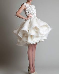New white/ivory Puffy Skirt Short Bridal Wedding Dress size 2-4-6-8-10-12-14-16+