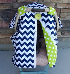 Navy Blue Chevron Stripe Carseat Canopy FREE by SooShabbyChic, $37.99