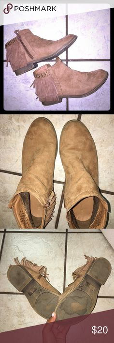 Brown booties with fringe Worn more than a few times but still have a lot of life left in them. They just sit in my closet now. A few scuffs and a stain. Please feel free to ask any questions Mossimo Supply Co. Shoes Ankle Boots & Booties