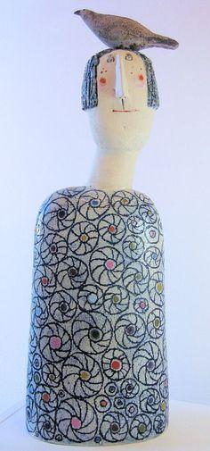 Jane Muir pottery | Jane Muir - Bird Head, Spirals Ceramic Sculpture