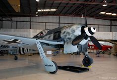 Rudy Frasca's Focke-Wulf FW 190A-9, Werk nummer 980574, N190RF. This aircraft began as a Flug-Werk replica, incorporating many original components and is powered by a Pratt & Whitney R-2800 radial engine turning a Hamilton Standard propeller. It is painted in the scheme of FW190s flown by famed German Ace Oskar Bosch.