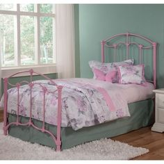 Fashion Bed Group Amberley Complete Kids Bed with Metal Duo Panels Cotton Candy Pink Full, Bubble Gum