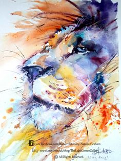 Lion watercolour painting by Natalie Graham