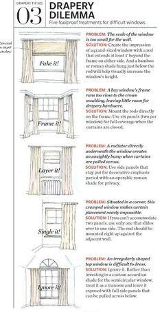 Tonic Living: Designer Fabric, Throw Pillows, Home Decor Shown here are solutions for awkward windows; too short, too cramped and that blasted radiator! These styling tips are useful ways to get creative with your next drapery project. Decorating Tips, Interior Decorating, Drapes Curtains, How To Hang Curtains, Curtains For Short Windows, Hanging Curtains, Valances, Curtains Over Radiator, Windows