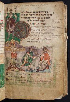 PSAUTIER DE STUTTGART: 1° page des psaumes, lettrine du Beatus Vir, f 2r. Artiste: scirptorium de l'abbaye de St Germain des Prés v. 820-830, localisation: Stuttgart Allemagne - ENLUMINURS CARO 4) TYPES DE LIVRES ET MOTIFS, 17: Les scènes de la vie de tous les jours sont particulièrement nombreuses dans les livres de Psaumes, comme celui d'UTRECHT, le PSAUTIER DE STUTTGART, le PSAUTIER DORE DE ST GALL.