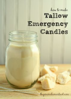 love these homemade tallow candles to have on hand for power outages, or just when I'm craving the ambiance of a candle.I love these homemade tallow candles to have on hand for power outages, or just when I'm craving the ambiance of a candle. Emergency Preparation, Survival Prepping, Emergency Preparedness, Survival Skills, Survival Stuff, Survival Gear, Emergency Planning, Emergency Food, Survival Shelter
