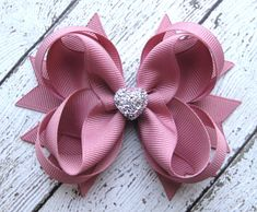 Girls Hair Bow  Mauve Boutique Hair Bow  by GhinesCreations
