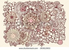 Doodle flowers in pastel colors