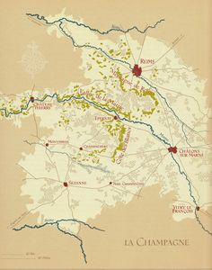 The Vineyards of Champagne in France Champagne France, Champagne Region, Vintage Wine, Vintage Maps, Wine Pics, Vides, Reims, French Wine, I Love Paris