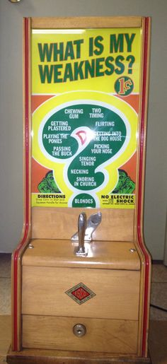 "1930s-40s coin-operated penny arcade personality tester ""What is My Weakness?"" By Tabletop Exhibit Supply Company."