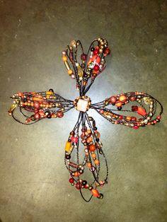 Orange beaded cross