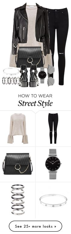 """Untitled #1361"" by ruhika29 on Polyvore featuring Miss Selfridge, CO, Chloé, Topshop, Linda Farrow, Cartier and M.N.G"