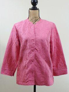 ART TO WEAR Lagenlook Eileen Fisher jacket artsy top Silk pink designer sz M #EileenFisher #BasicJacket #Formal