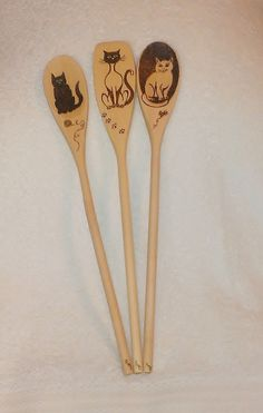 Wooden Spoon Set with Cats by KitchenSmiles on Etsy, $20.00