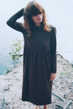 Brown Cotton Fabric Long Sleeves Peter Pan Collar Dress by OffOn, €100.00