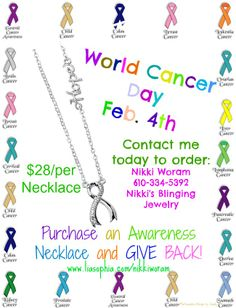 """ALL proceeds go DIRECTLY TO CANCER RESEARCH! Go to: www.liasophia.com/nikkiworam - click on """"Browse Our Jewelry"""" - type in hostess name """"Cancer Research"""" - go to product search """"Awareness"""" - add to cart, and check out."""