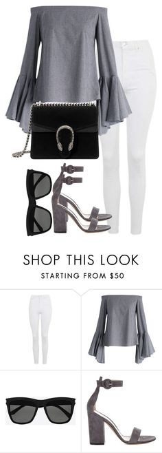"""Untitled #2608"" by theeuropeancloset ❤ liked on Polyvore featuring Topshop, Chicwish, Yves Saint Laurent, Gianvito Rossi and Gucci"