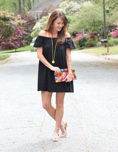Black off the shoulder dress via Peaches In A Pod blog.