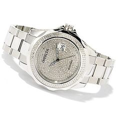 Invicta 47mm Pro Diver 2.61ctw Diamond Accented Swiss Automatic Stainless Steel Bracelet Watch