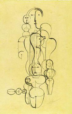 By Oskar Schlemmer (1888-1943), 1923, Concentric Group: Figure Plan K1, Staatliches Bauhaus, Weimar.