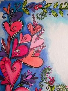Love the doodles that everyone is calling zentangle now! They will always be doodles to me! Kunstjournal Inspiration, Art Journal Inspiration, Painting Inspiration, Art Journal Pages, Art Journals, Heart Painting, Whimsical Art, Doodle Art, Doodle Ideas
