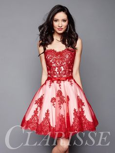 Pretty vintage inspired short Red and White Lace Homecoming Dress 3367 | Promgirl.net