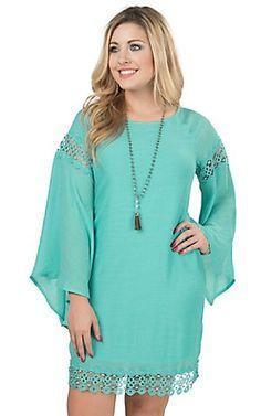 Wrangler Women's Turquoise with Crochet Long Bell Sleeve Dress