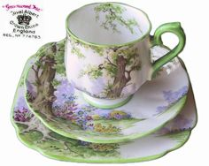 Royal Albert Greenwood Tree Crown China Coffee CUP Trio 1st ENG C1927 NO 774783 | eBay