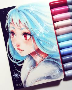 Copic Sketch by GabrielleBrickey on DeviantArt Copic Drawings, Anime Drawings Sketches, Cute Drawings, Art Anime, Anime Art Girl, Manga Art, Copic Marker Art, Copic Art, Chibi