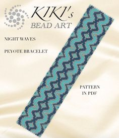 This is an own designed pattern in PDF format, downloadable directly from Etsy.  This pattern is for my Night waves bracelet, which is created in odd, single peyote. The PDF file includes:  1. a large picture of the pattern 2. a large, detailed graph of the pattern, 3. a bead legend with the colour numbers and count of the delica beads for the suggested length 4. a word chart of the pattern  Please note that my patterns do not include instructions for how to do the peyote stitch. You can…