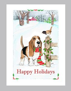 Basset+Hound+Christmas+Cards+Box+of+16+Cards+&+by+Judzart+on+Etsy,+$16.60