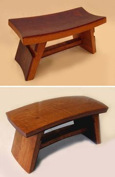 French oak stools made out of old wine barrels that already had curved surfaces. Stil Novo in California.