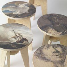 Piet Hein Eek prints Rijksmuseum artworks onto flatpack stools #Home-Decor