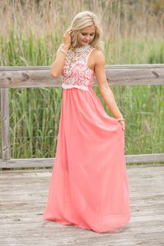 Adventure Of A Lifetime Maxi Dress Coral - The Pink Lily Boutique Maxi Dresses, Funky Dresses, Pink Lily, Masters, Dress Skirt, Boho Chic, Coral, Adventure, Stylish