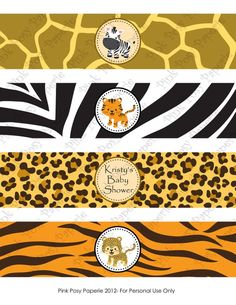 Items similar to Printable Safari Baby Shower Water Bottle Wrappers on Etsy Safari Party, Safari Jungle, Jungle Party, Safari Theme, Spongebob Birthday Party, Jungle Theme Birthday, Animal Birthday, Dinosaur Birthday, Baby Shower Themes