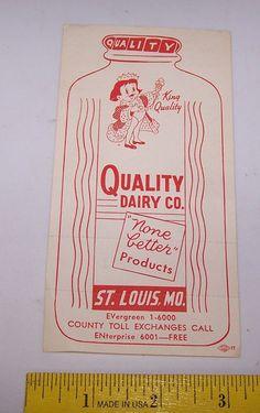 Vintage QUALITY DAIRY CO Bridge Score Sheet Tally Card ST LOUIS MISSOURI