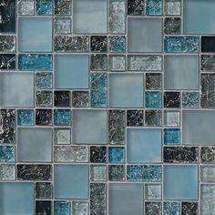 SAMPLE blue crackle glass mosaic tile backsplash Kitchen Backsplash Sink Wall #Unbranded