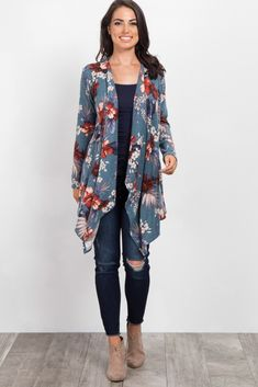Blue Tropical Floral Draped Cardigan + navy tee and jeans Long Kimono Cardigan, Kimono Outfit, Floral Cardigan, Drape Cardigan, Kimono Fashion, Hijab Fashion, Fashion Outfits, Blue Cardigan, Casual Skirt Outfits